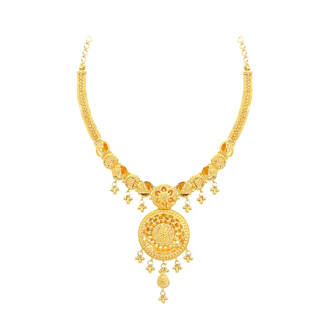 Necklaces | Round Shape With Centered Flower Design Gold Necklace ...