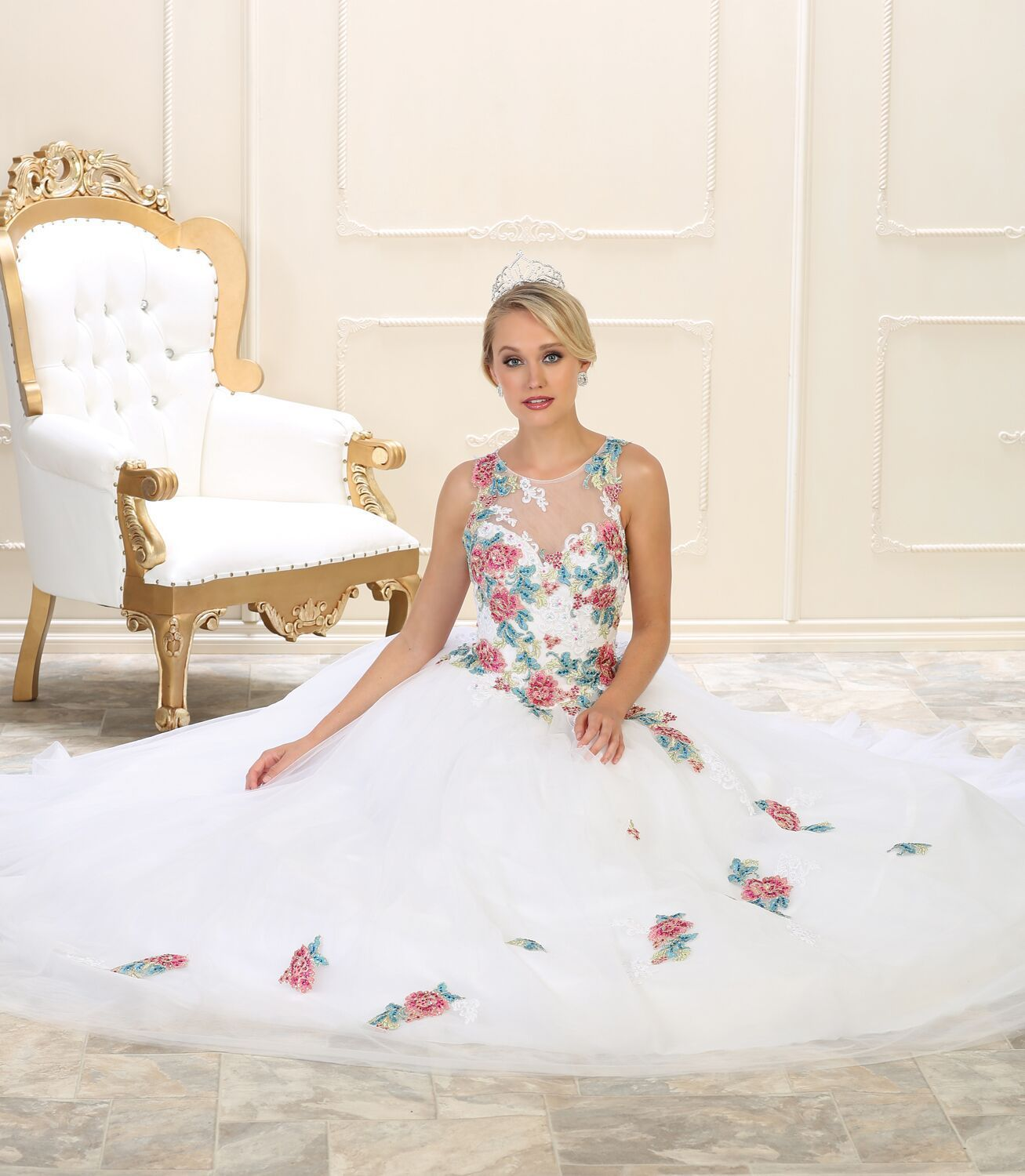 Long Quinceanera Sweet 16 Ball Gown | Ball gowns, Mesh material and ...