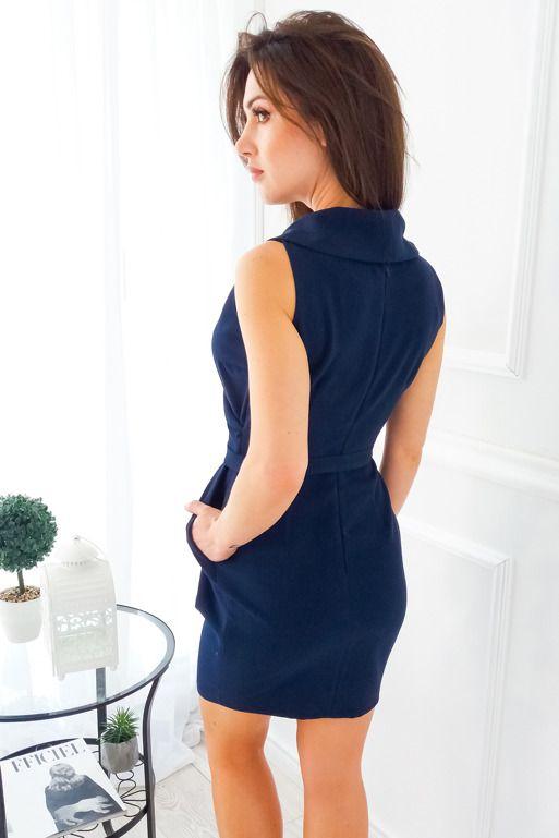 Granatowa Sukienka Z Kolnierzem Fashion Dresses High Neck Dress