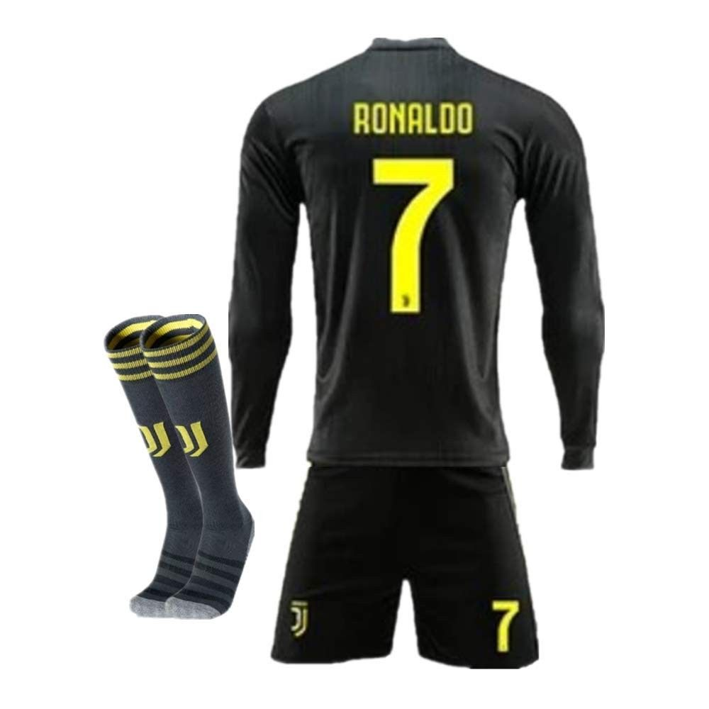 online retailer 59b57 b493a New Season 18/19 Juventus 7 Ronaldo Away Kids/Youth Long ...