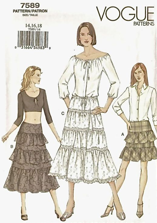 PEASANT SKIRT Sewing Pattern - Plus Size Tier & Ruffled Skirts Vogue ...