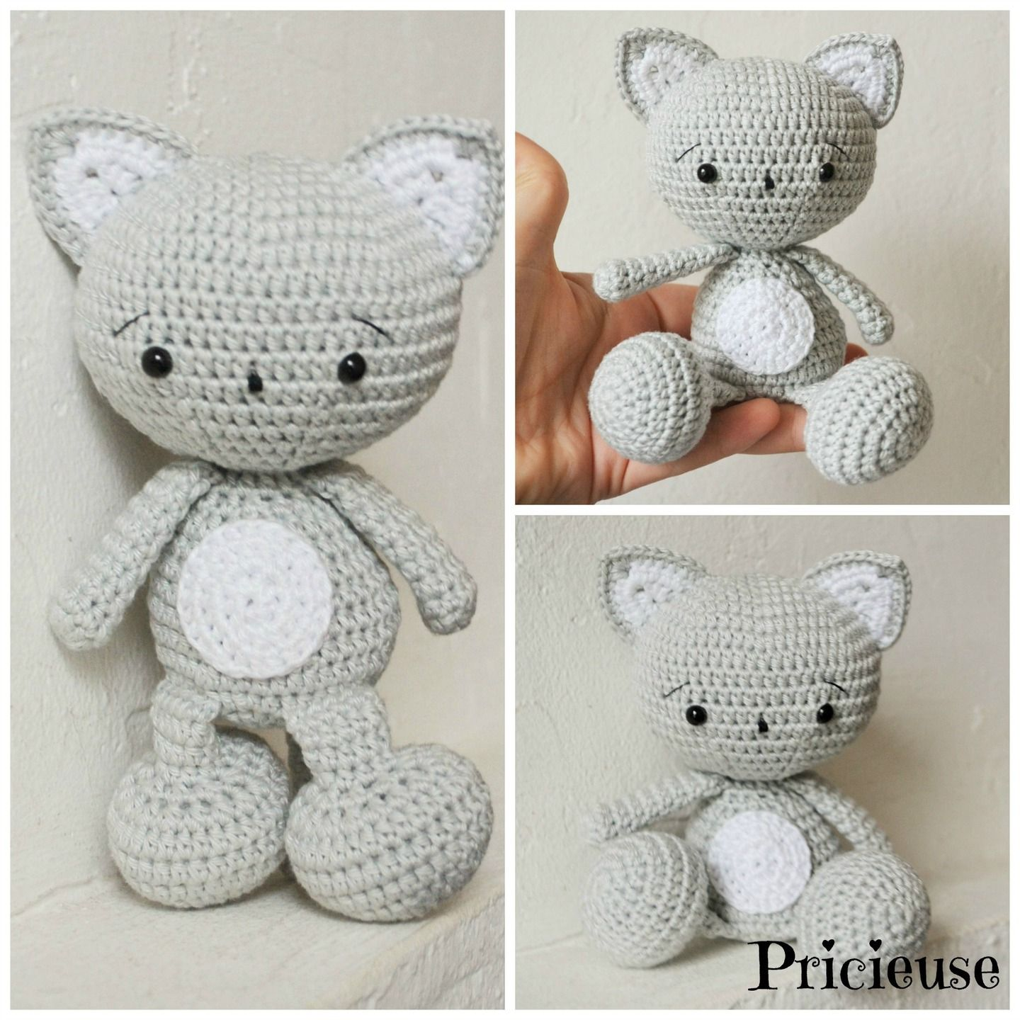 amigurumi doudou chat au crochet gris et blanc jeux jouets par pricieuse crochet amigurumi. Black Bedroom Furniture Sets. Home Design Ideas
