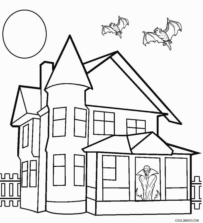 Printable Haunted House Coloring Pages For Kids | Cool2bKids ...