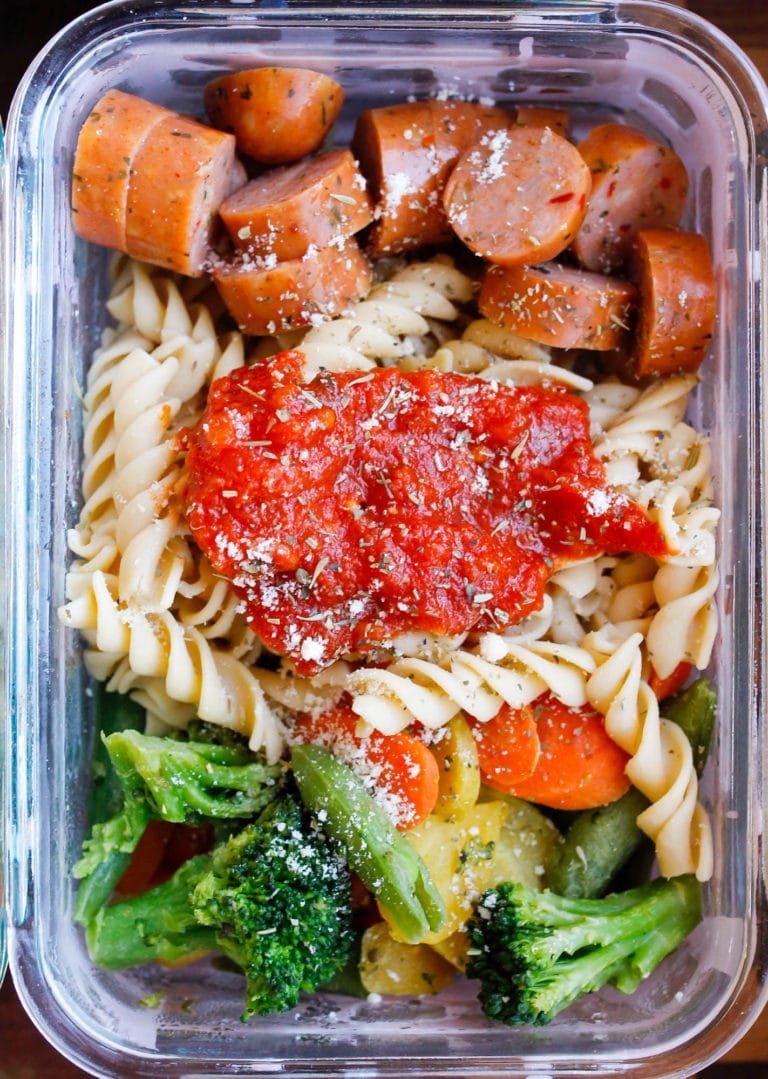 15 Minute Chicken Sausage Pasta Meal Prep Bowls Recipe