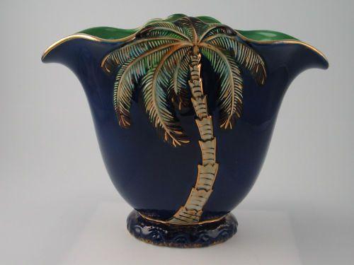 Vintage Large Beswick Palm Tree Vase Art Deco Cobalt Blue Green Gold