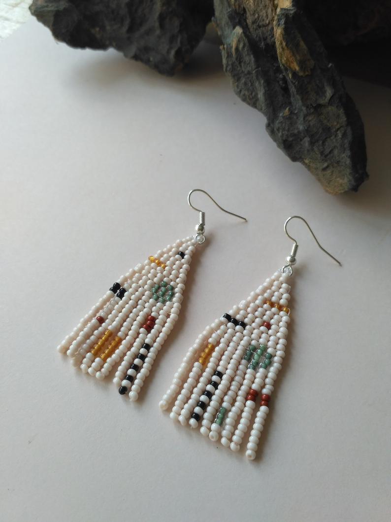 Beige Woven Earrings Seed Beaded Fringe Earrings Small Earrings