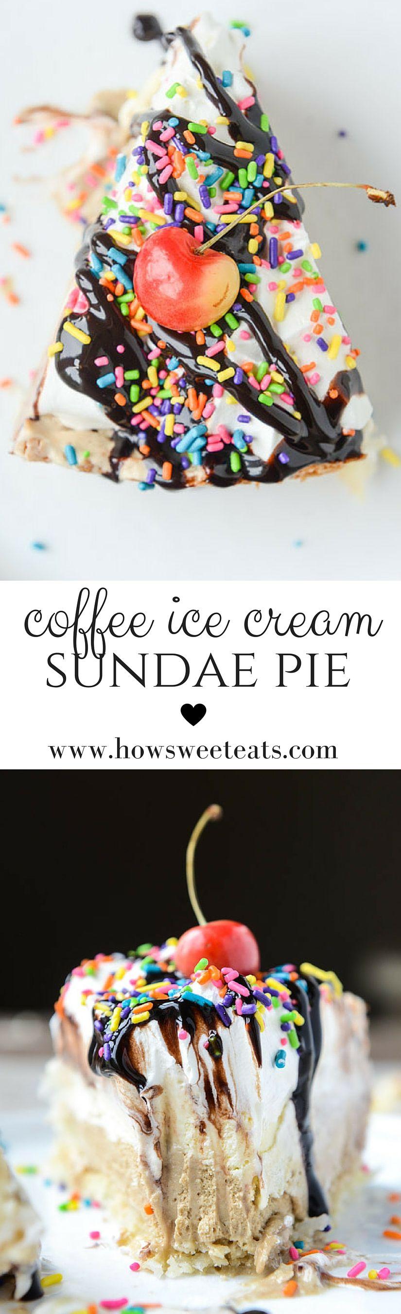 coffee ice cream hot fudge sundae pie with macaroon crust by @howsweeteats I howsweeteats.com