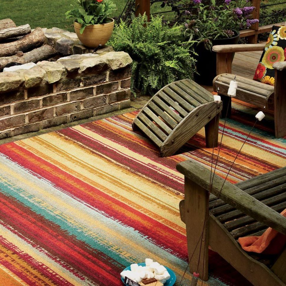 Striped Colorful Indoor Outdoor Carpet