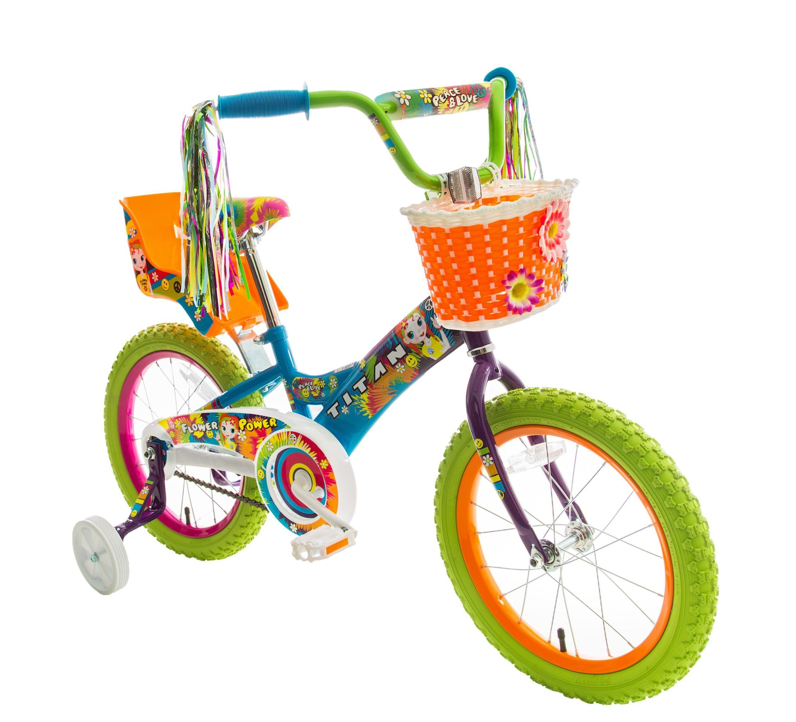 Titan Girl S Flower Power Princess Bmx Bike Multi Color 16 Inch Lovely Novelty Bmx Bikes Bike With Training Wheels Kids Bicycle