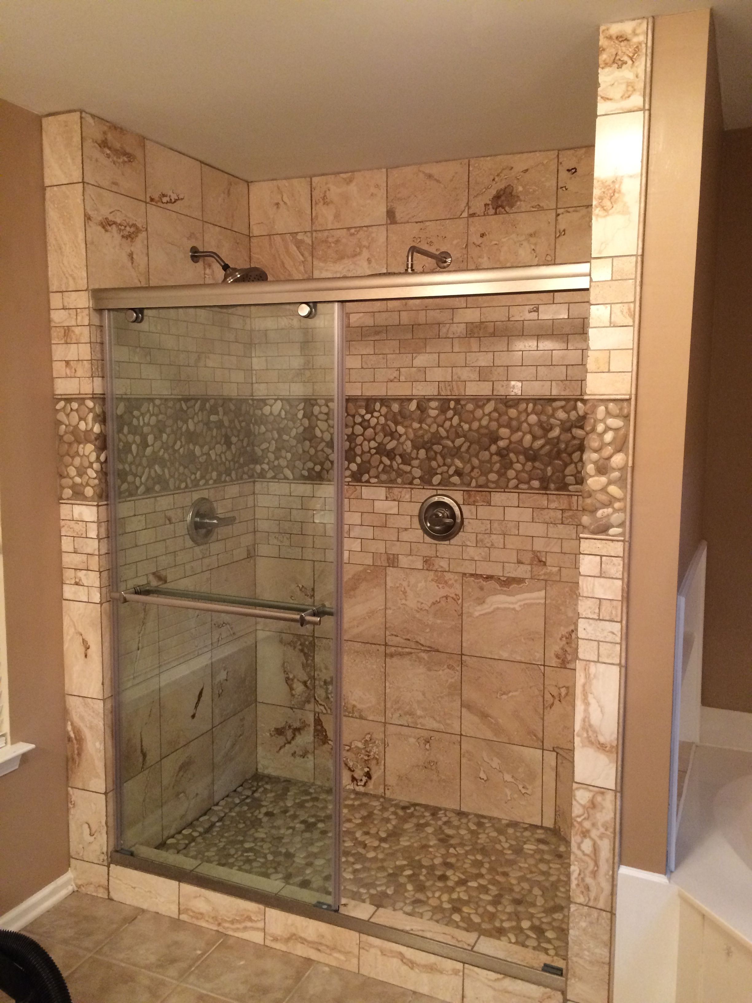 Glazed Java Tan And White Pebble Tile Bathroom