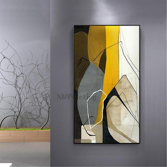 Gold art abstract painting canvas art wall art pictures for living room wall decor hallway home decoration acrylic art black yellow Original