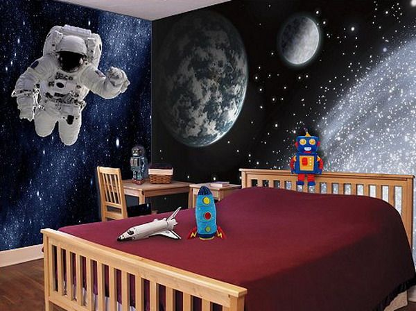 Awesome Astronaut Boys Bedroom Mural Edbys In 2020 Space Themed Room Space Themed Bedroom Bedroom Themes