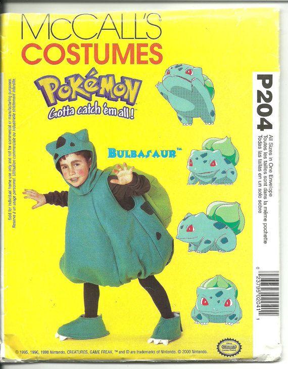McCalls Costume Pattern P204 / 2833 Pokemon Bulbasaur Child Sizes 4 ...