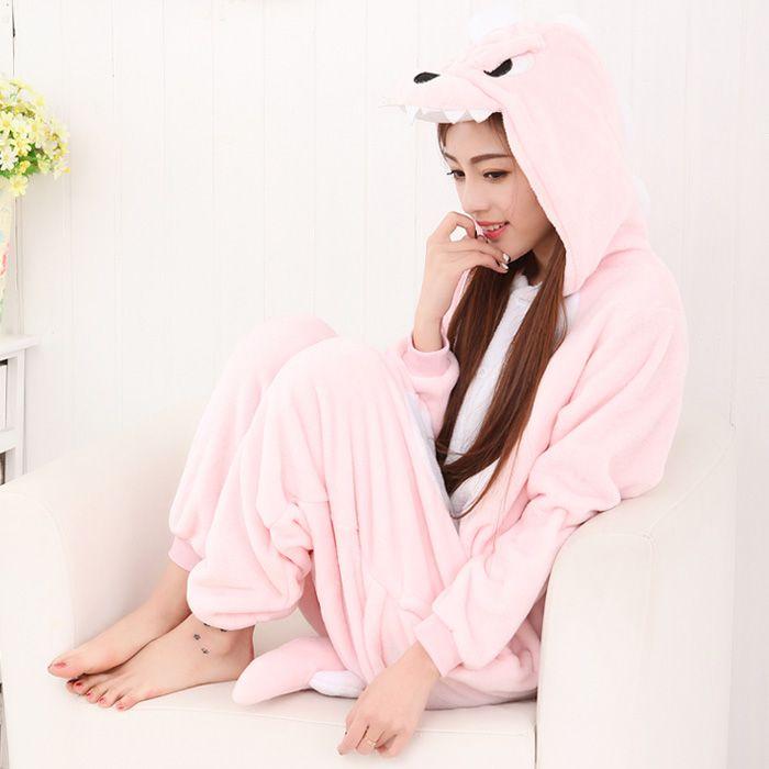 Velvet Fluffy Hooded Kigurumi Autumn and Winter Cute Animal Pink Dinosaur Onesies Pajamas Adult Sleepwear $99.00  #Lovejoynet #Animal #Sleepwear