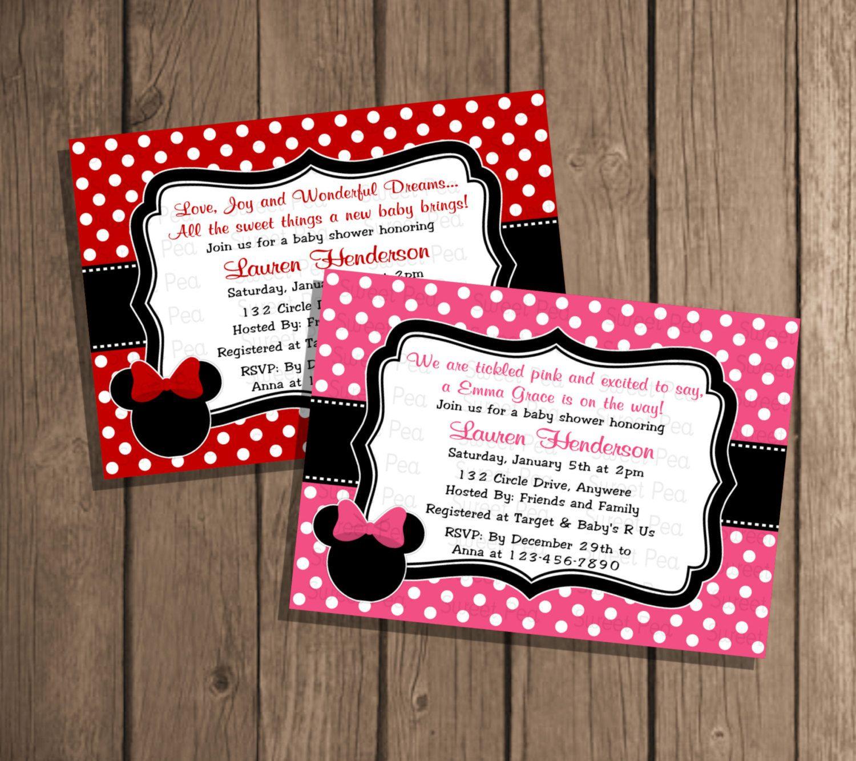 Custom Color Girl Minnie Mouse Baby Shower Girl Polka Dot Digital Printable  Photo Card