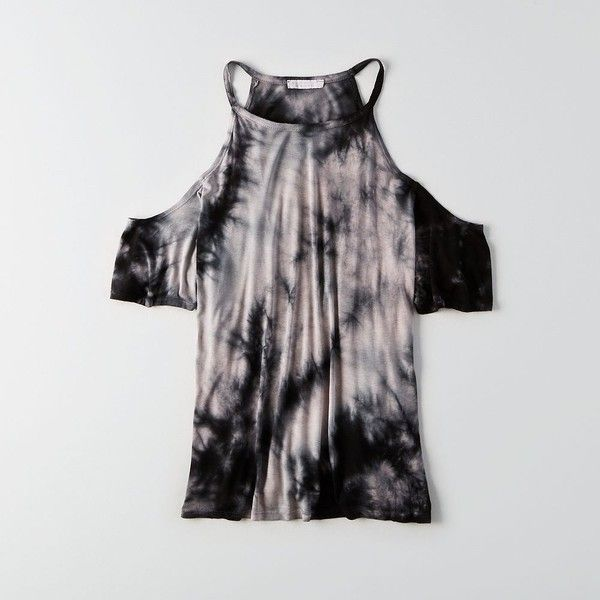 Don't Ask Why Cold Shoulder T-Shirt ($35) ❤ liked on Polyvore featuring tops, t-shirts, grey, gray t shirt, cold shoulder tops, crew neck t shirt, open shoulder top and gray tees
