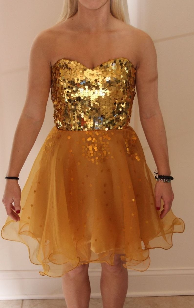 Cool awesome short gold sparkly homecomingprom dress my