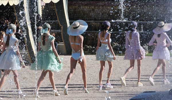 Pastels at the Chanel Cruise show in Versailles