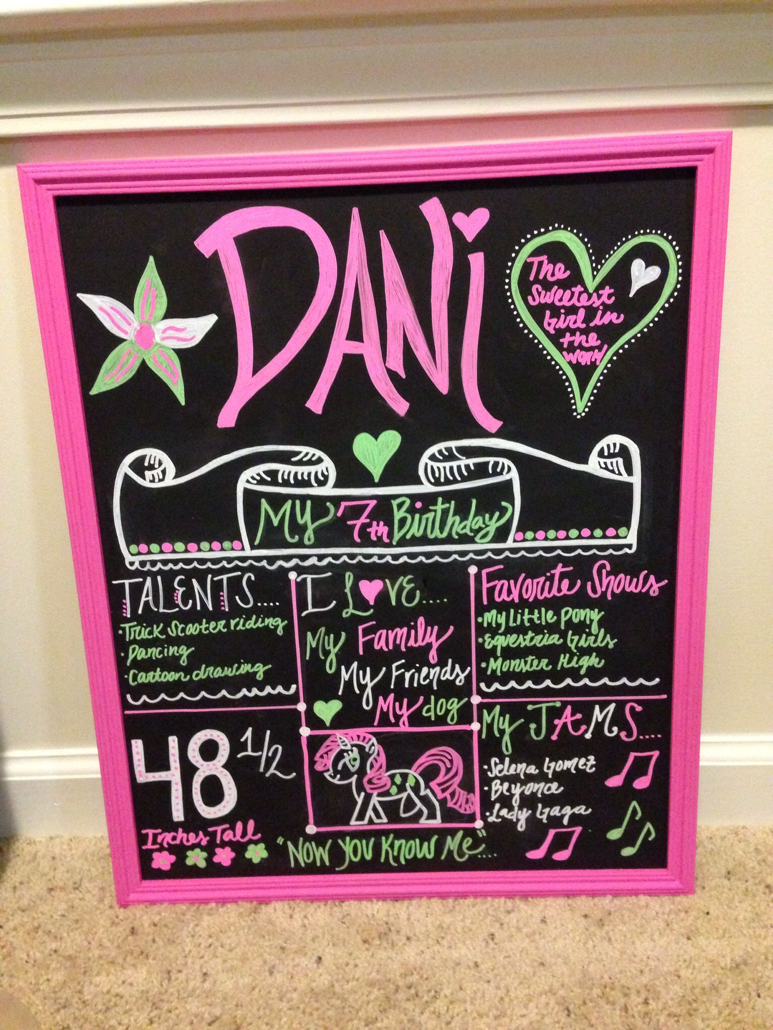 Girls 7th birthday chalkboard frame flowers my little pony www.etsy ...