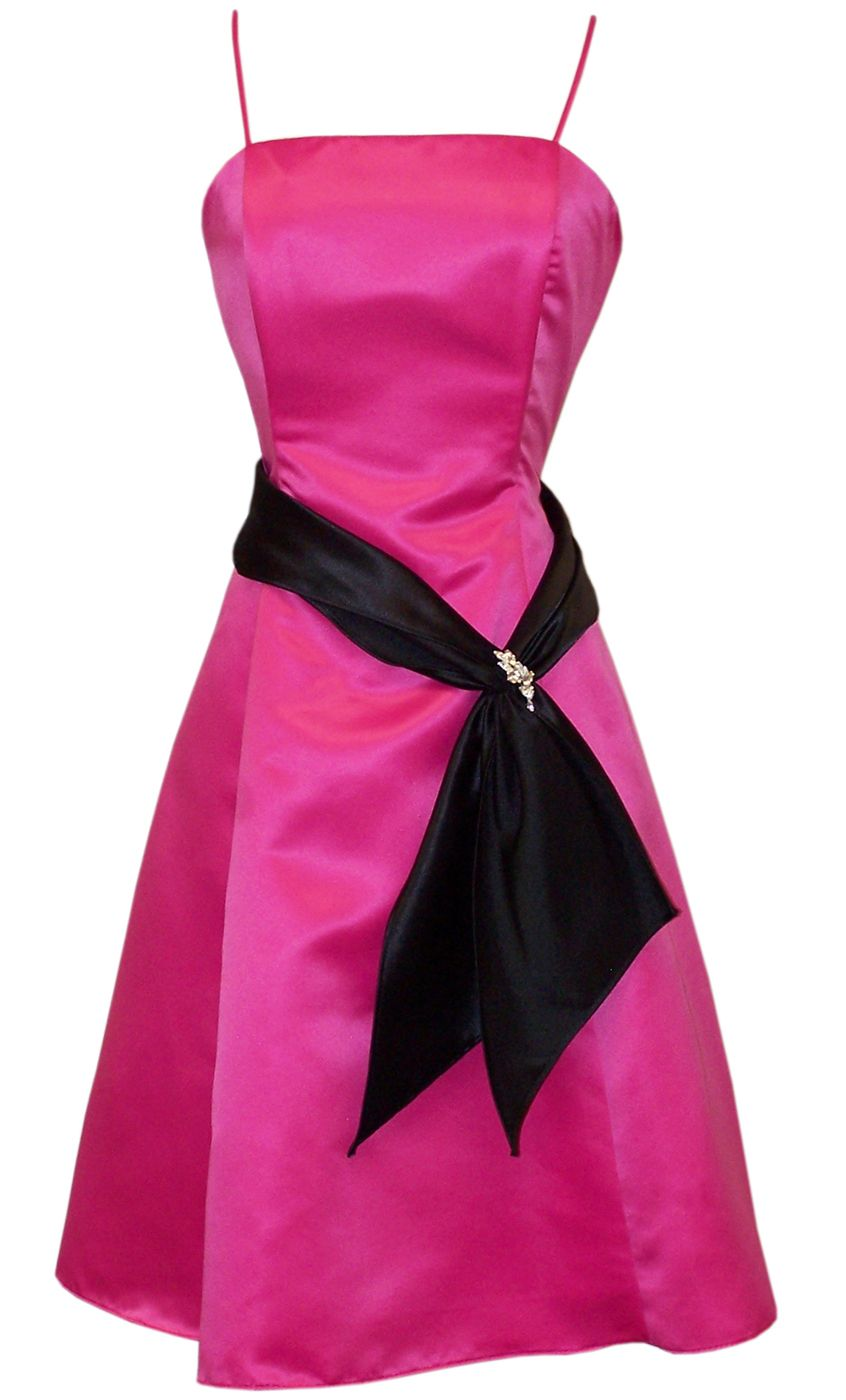 Hot Pink And Black Dresses Strapless Satin With Black Sash ...