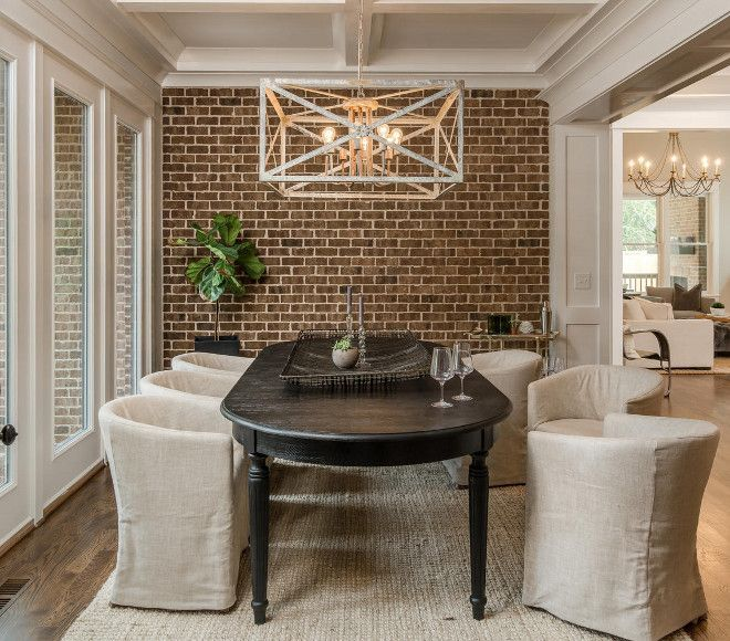 Dining Room Exposed Brick Accent Wall Neutral Dining Room With