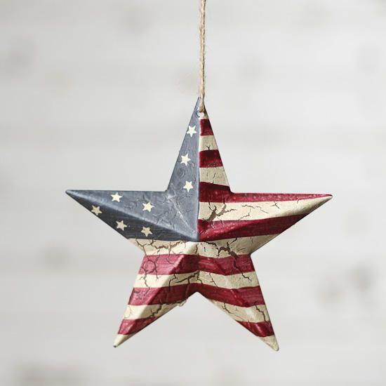 Handmade Farmhouse Primitive Country Americana Star Ornament Peg Hanger