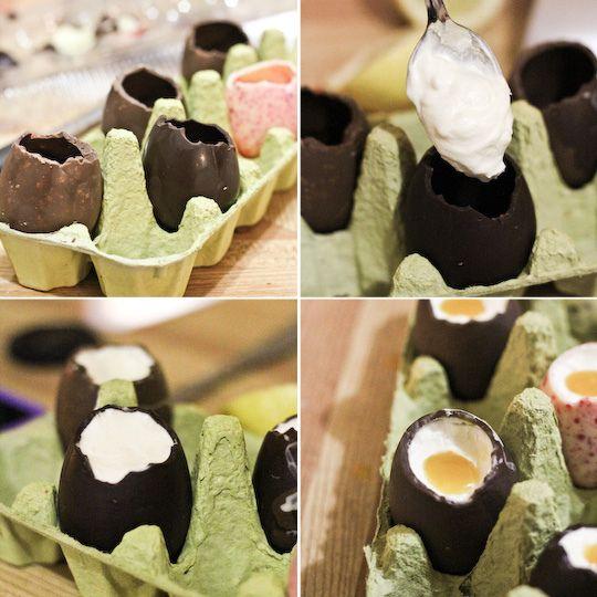 """Recept na Čokoládové vajíčko plnené """"cheeskakeom"""" a žltým krémom. Vyzerá ako živé! :)"""