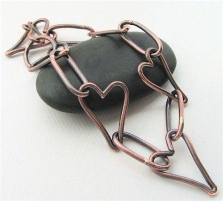 Age Old Love copper heart bracelet - made to order - perfect for Valentine's Day. $42.00, via Etsy.