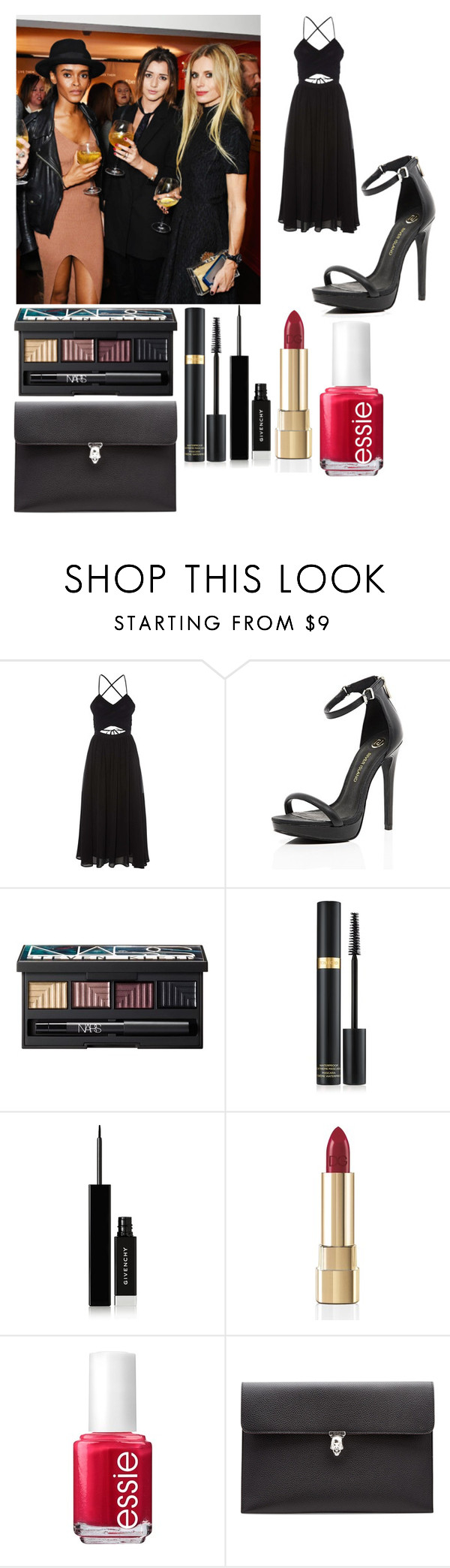 """""""Party w/ Eleanor"""" by officialarianagrandebutera ❤ liked on Polyvore featuring Topshop, River Island, NARS Cosmetics, Tom Ford, Givenchy, Dolce&Gabbana, Essie and Alexander McQueen"""