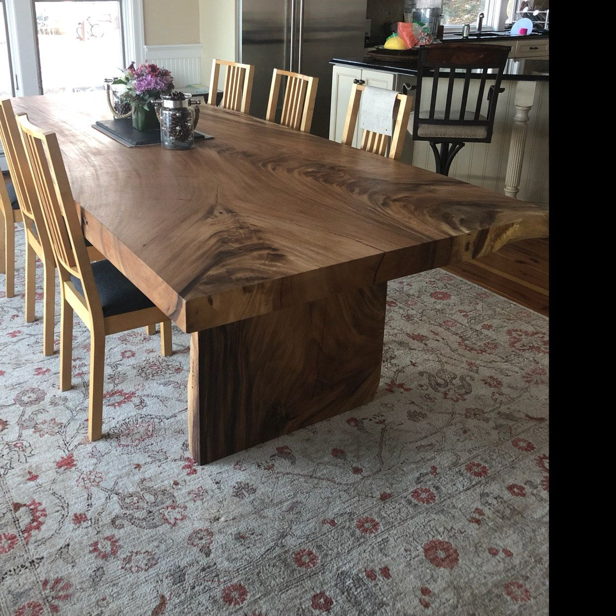 Acacia Wood Live Edge Dining Desk Table In Rustic Monkey Pod