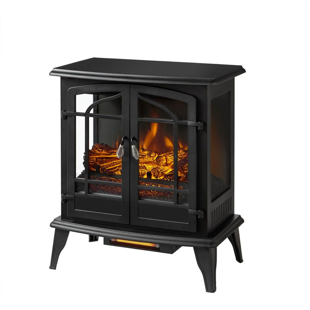 Stylewell Legacy 1 000 Sq Ft Panoramic Infrared Electric Stove In Black Est 540t 10 Y The Home Depot In 2020 Electric Stove Small Wood Burning Stove Seasonal Room
