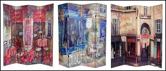 French Cafe Double Art Print Canvas Room Divider Design Girls