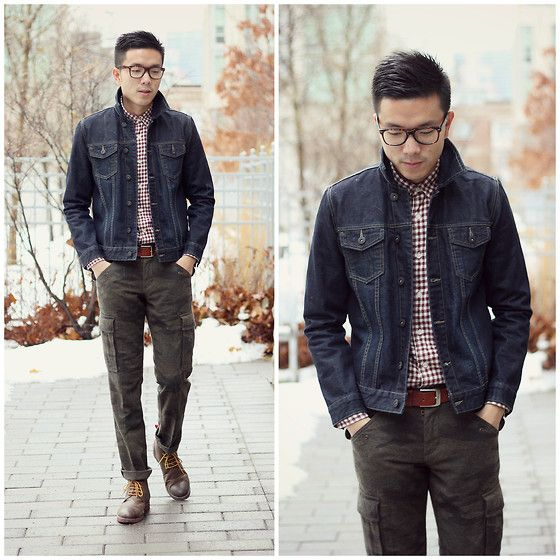 Muji Checkered Shirt Frank Oak Denim Jacket Gap Camo Cargo Pants Hawkings Mc Gill Lace Up Boots Denim Jacket Camo Cargo Pants Checkered Shirt
