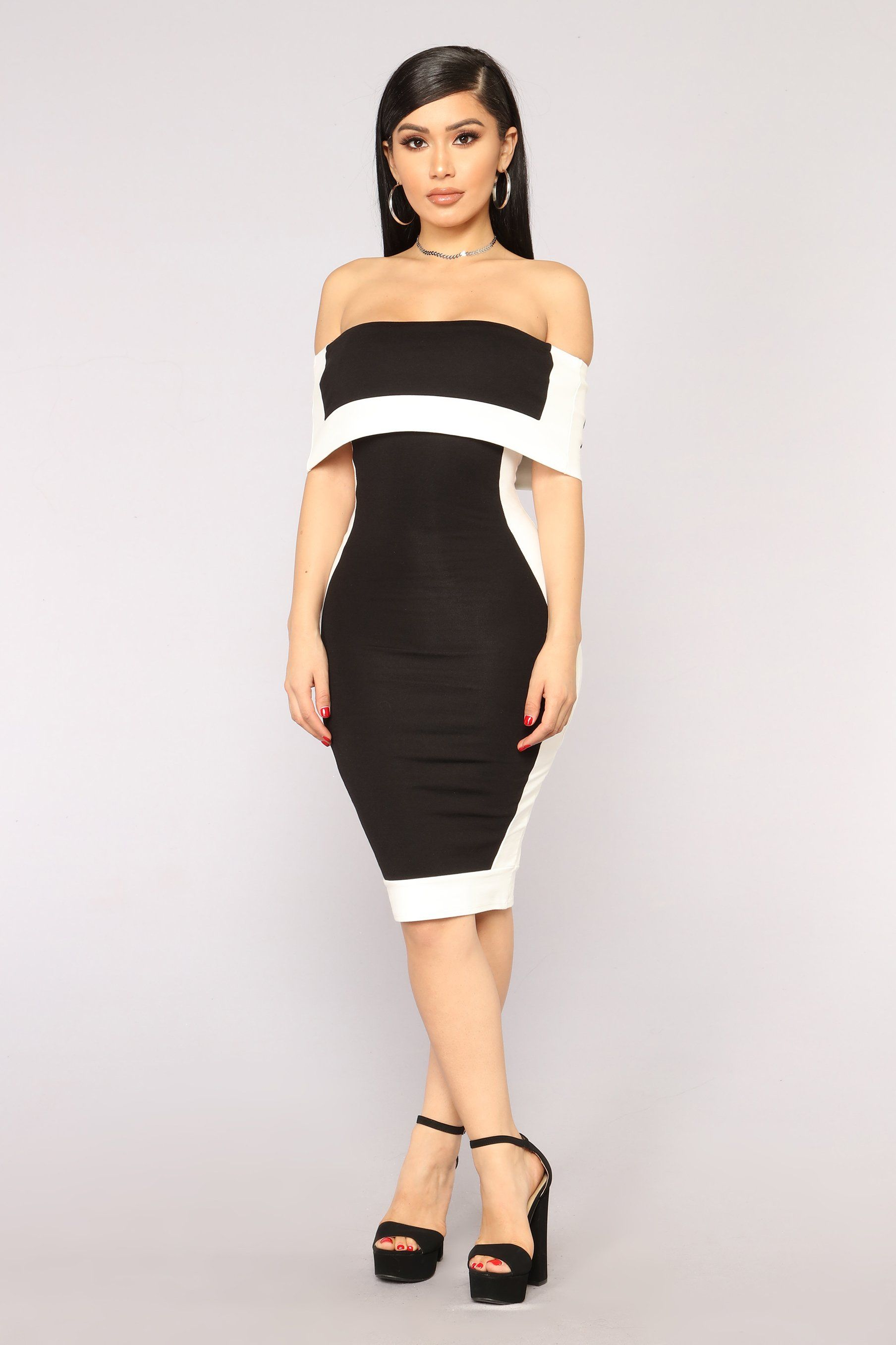 1d2169c252c5 Olivia Off Shoulder Dress - Black White