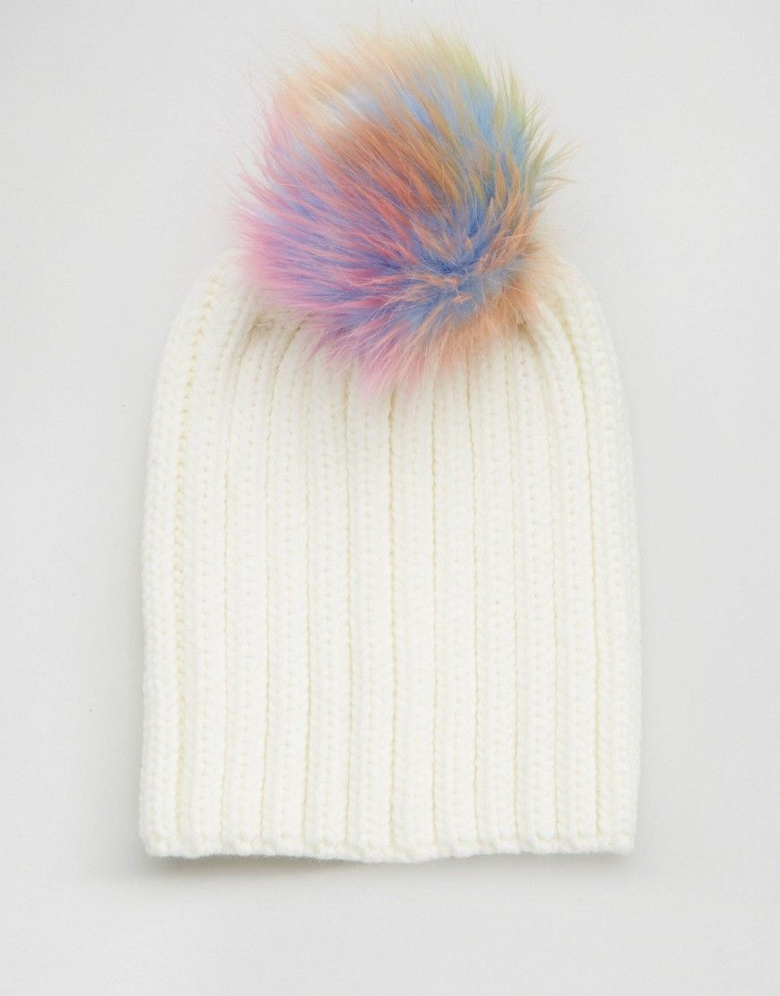 66ee1cee188cd Image 3 of 7X Knitted Beanie Hat With Rainbow Faux Fur Pom Pom