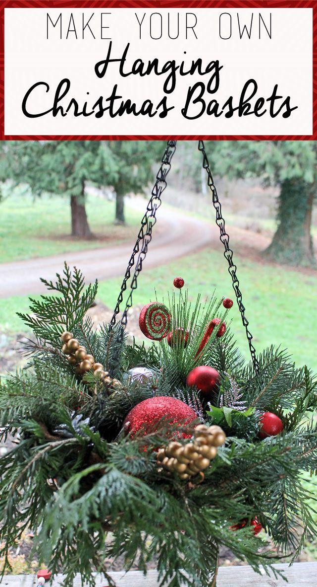 Diy Hanging Christmas Baskets Christmas Hanging Baskets Outdoor Christmas Christmas Baskets