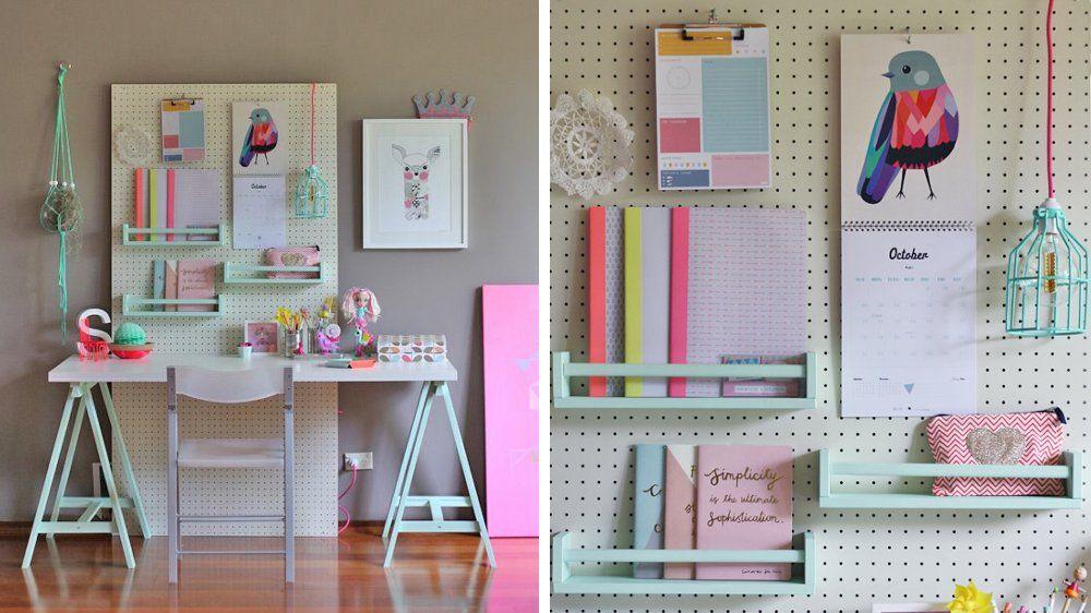 bureau enfants panneau perfor bureau pinte. Black Bedroom Furniture Sets. Home Design Ideas