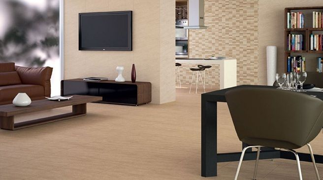 Pared y suelo beige con muebles oscuros decoraci n de for Muebles beige