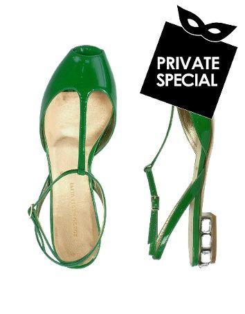 Borgo degli Ulivi  Emerald Green Patent Leather Jeweled Sandal Shoes  Secret 50% OFF. Use code: PLATINUMCODE