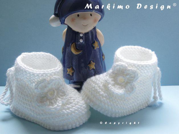 Weiße Babyschuhe Taufe 10 Cm Stricken Baby Stricken Und Babyschuhe