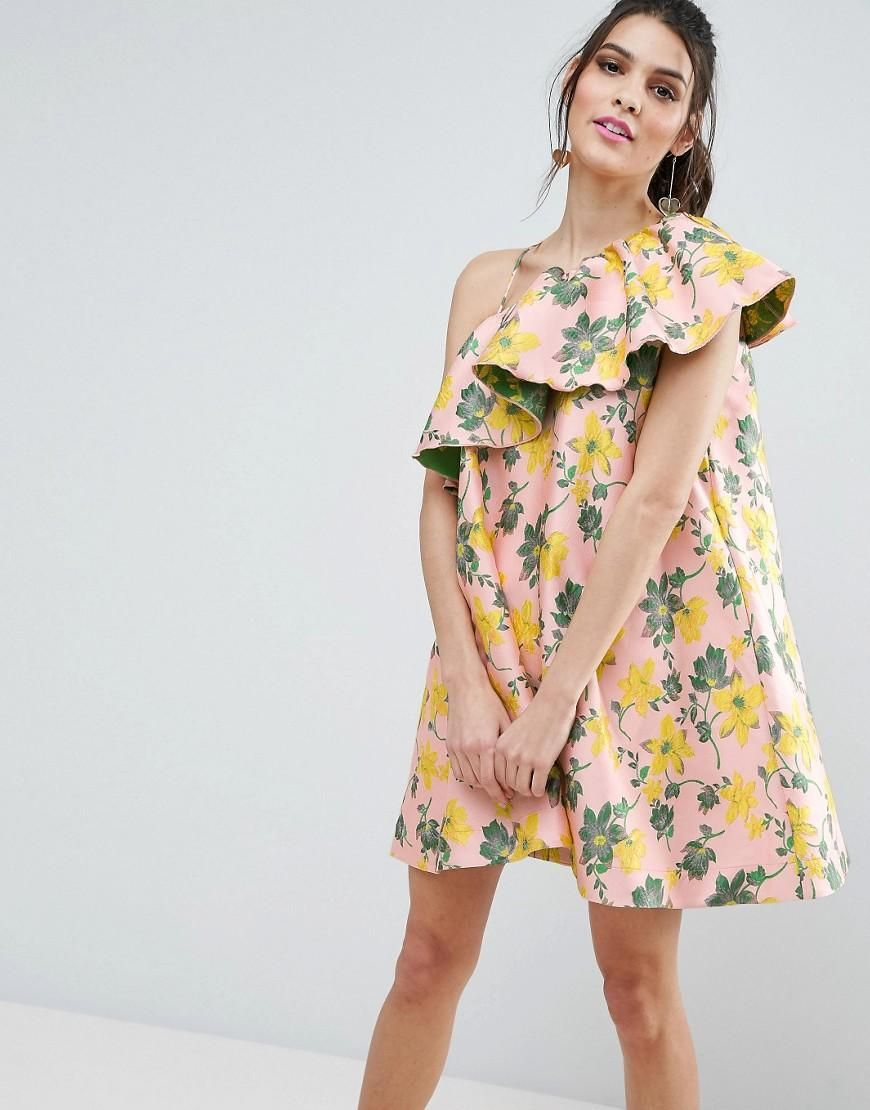 Asos wedding guest dresses with sleeves  ASOS  ASOS ASOS Jacquard Ruffle One Shoulder Floral Trapeze Mini