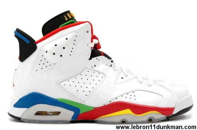 1a0dd11c8708 Latest Listing Air Jordan 6 (VI) Retro Olympic White Varsity Red-Green  Bean-New Blue Shoes Store