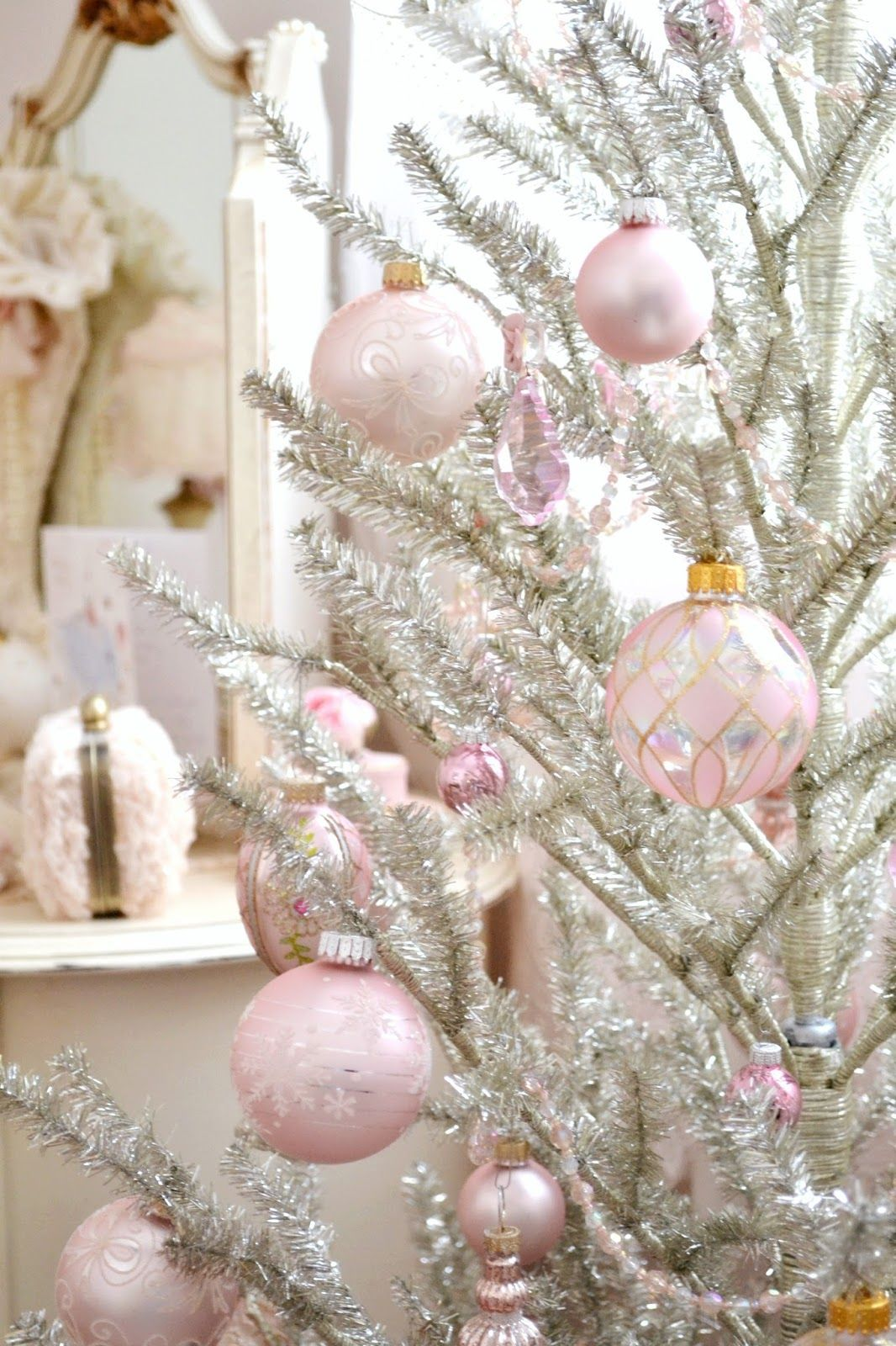 Pink Christmas Pink Christmas Decorations Shabby Chic Christmas Decorations Pink Christmas
