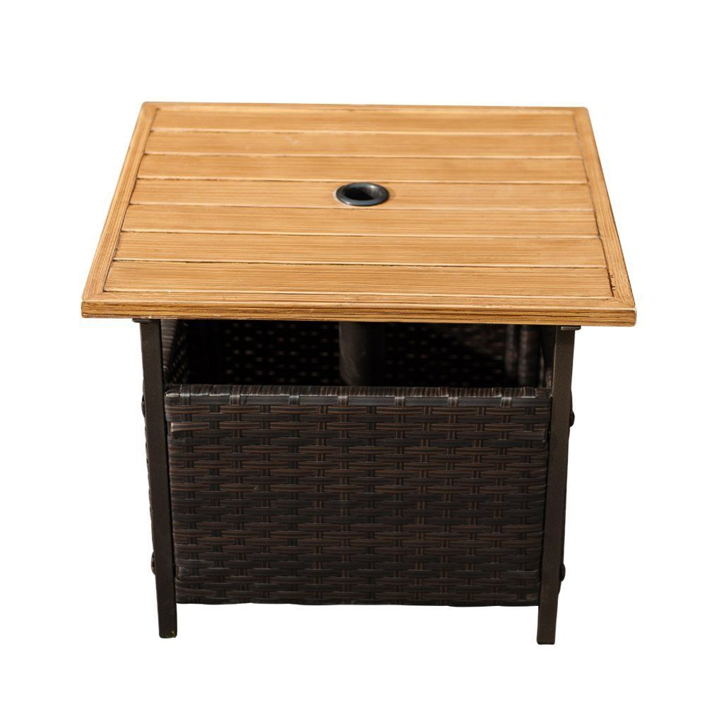 Sunlife Patio Woodgrain Side Table With Umbrella Hole Umbrella Base Stand Outdoor Furniture Bistro Wicker Side Table Solid Wood Coffee Table Coffee Table Wood