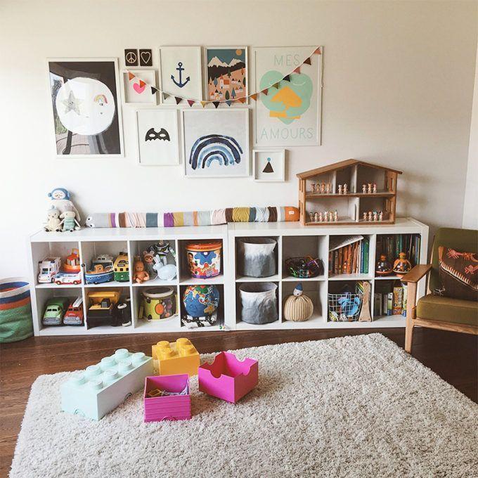 Play Area With Two 2x4 Ikea Kallax Shelves Soft Rug