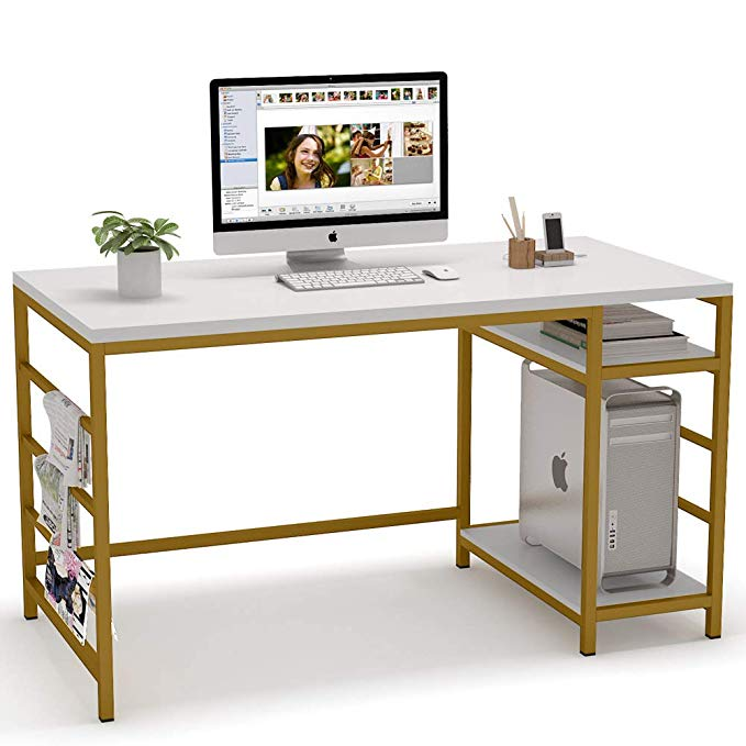 Amazon Com Tribesigns Computer Desk With Storage Shelves 55 Inch Large Computer Table Study Wr In 2020 Modern Home Office Desk Modern Office Desk Chic Computer Desk