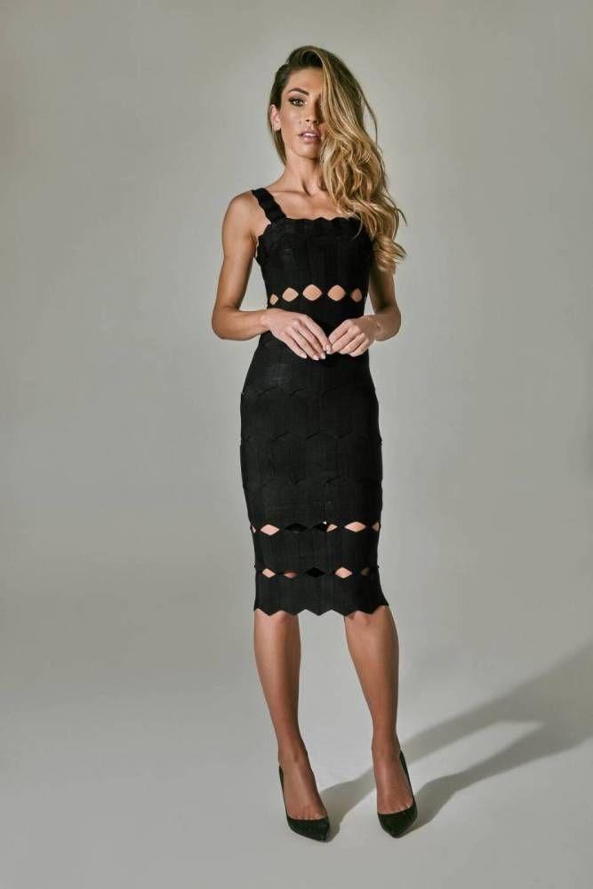 4cd3cbcde Vestido Midi Anelle Preto | vestido | dress bandage | Dresses ...
