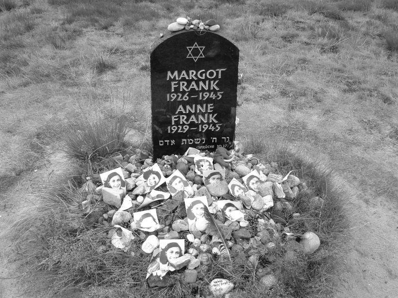 Memorial Marker For Margot Frank And Anne Frank At Bergen
