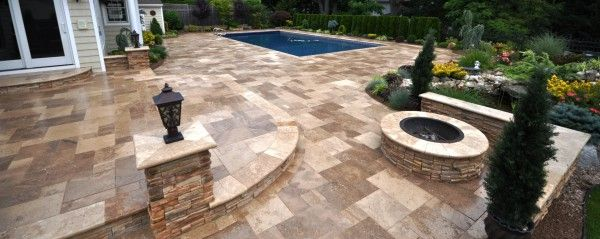 Image Of Interesting Round Paver Patio Kits From Travertine Natural Stone Tiles With Diy Outdoor Fire