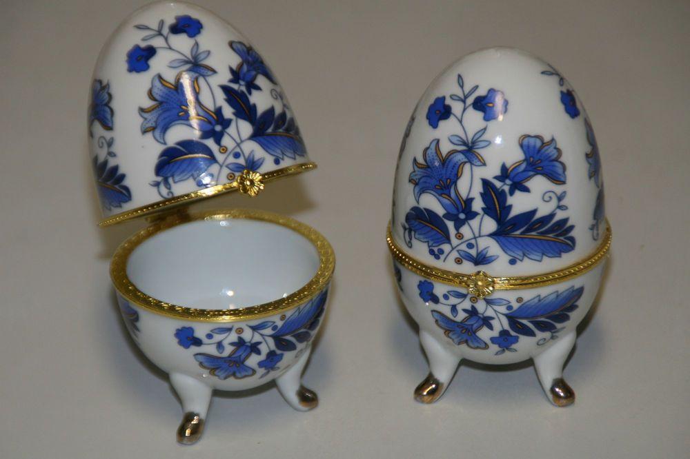 Porzellan Ei Schmuckdose Glanzlack mit  Klappvorrichtung Höhe 10 cm